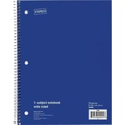 "Staples® 1 Subject Notebook, College Ruled, 8"" x 10-1/2"", Blue"
