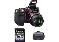 Nikon COOLPIX L830 16MP 34x Optical Zoom Digital Camera w/ 16GB Card and Case, Plum - Refurbished