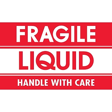 Tape Logic Fragile - Liquid - Handle With Care Shipping Label, 3