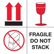 "Tape Logic Fragile - Do Not Stack Tape Logic Shipping Label, 4"" x 4"", 500/Roll"