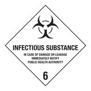 "Tape Logic Infectious Substance - 6"" Tape Logic Shipping Label, 4"" x 4"", 500/Roll"