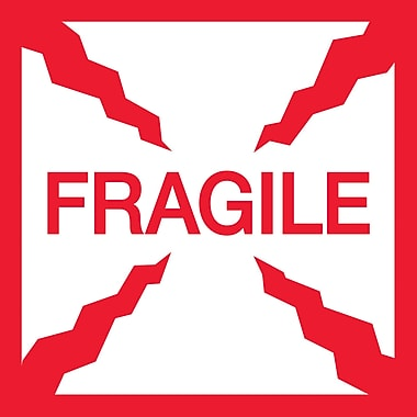 Tape Logic Fragile Staples® Shipping Label, 4