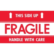 "Tape Logic® Labels, ""Fragile - This Side Up - HWC"", 3"" x 5"", Red/White, 500/Roll"