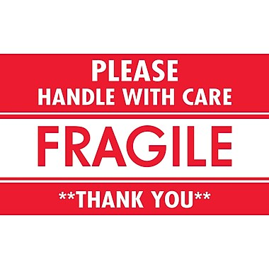 Tape Logic Fragile Please Handle with Care Staples® Shipping Label, 3