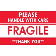 "Tape Logic Fragile Please Handle with Care Staples® Shipping Label, 3"" x 5"", 500/Roll"