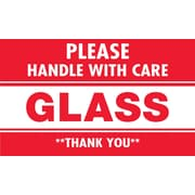 "Tape Logic® Labels, ""Glass - Please Handle With Care"", 3"" x 5"", Red/White, 500/Roll"