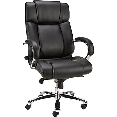 Staples Sonada Bonded Leather Managers Chair, Fixed Arm, Black