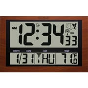 La Crosse Technology 513-1211A-INT Jumbo Digital Atomic Red Wood Colored Wall Clock with Temperature