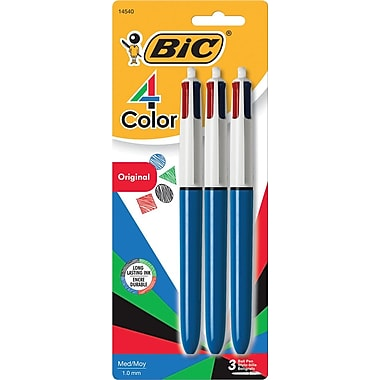 BIC ® 4-Color Retractable Ballpoint Pen, 1 mm Medium, Assorted, Blue Barrel, 3/Pack