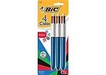 BIC ® 4-Color Retractable Ballpoint Pen, 1 mm Medium, Assorted, Blue Barrel, 3/Pack