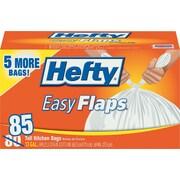 Easy Flaps Tall-Kitchen Trash Bags, 13gal, White, 85/Bx
