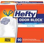 Odor Block Tall-Kitchen Drawstring Bags, 13gal, White, 90/Bx