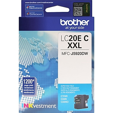 Brother LC20E XXL Cyan Ink, LC20EC, Extra High Yield
