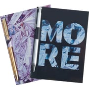 Cynthia Rowley Memo Pad with Gold Pen, Assorted Wrinkled Mylar, 2 Pack