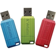 Verbatim 8GB PinStripe USB Flash Drive - 3pk - Red, Green, Blue
