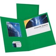 Oxford Twin-Pocket Folder, Embossed Leather Grain Paper, Hunter Green