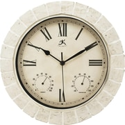 "Infinity Instruments 12"" White Slate Outdoor Wall Clock, Mayan"