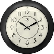 "Infinity Instruments 14.5"" Retro Diner Style Wall Clock, Berkeley Black"