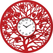 "Infinity Instruments 31"" Large Red Wall Clock, Red Oak"