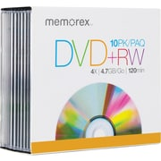 DVD+RW Re-Writable Disc, 4X, Slim Jewel Case, 10 Pack