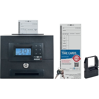 Pyramid 5000HD Heavy Duty Auto Totaling Time Clock, 100 Employee, Black, (5000HD)