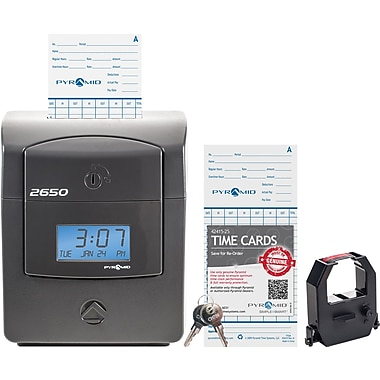 Pyramid 2650 Pro Auto Aligning Time Clock, Charcoal, (2650)