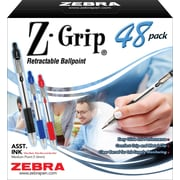 Zebra Z-Grip Retractable Ball Point Pens, Medium Point, Assorted, 48/Pack (22048)