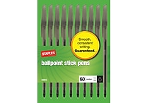 Staples Ballpoint Stick Pens, Medium Point, Black, 60/Pack (40813)