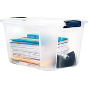 Staples 40 Quart Plastic Container, Clear with Locking Lid