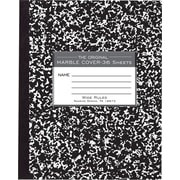 "Roaring Spring Paper Products Black Marble Composition Book, 8 1/2"" x 7"", 48 Sheets, Flexible Covers with Square Corners"