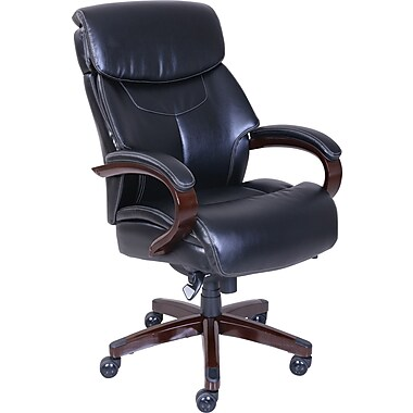 La-Z-Boy Bradley Bonded Leather Executive Chair, Fixed Arm, Black
