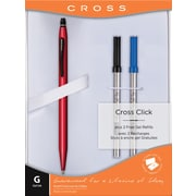 Cross Click Gel Ink Pen Gift Set, Medium Point, Red, Each