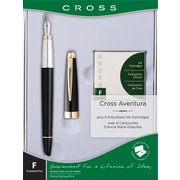 Cross Aventura Fountain Pen Gift Set, Medium Nib, Black, Each