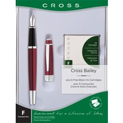 Cross Bailey Fountain Pen Gift Set, 0.38 mm, Red Lacquer (AT0456H-8MS/15)