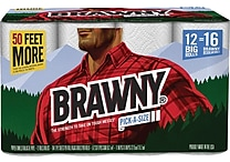 Brawny Pick-A-Size Two-Ply Paper Towel Rolls, 104 Sheets/Roll, 12 Rolls/Case (4456533/ 445525)