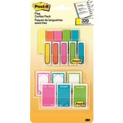 "Post-it® 1/2"" and 1"" Flags, Assorted Color Combo Pack with Message Flags, 320 Flags/in Four On-The-Go Dispensers (683-XLS)"