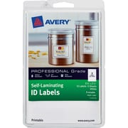 "Avery Self-Laminating ID Labels 00761, Printable, 3 1/4"" x 2 1/4"", White, Pack of 10"