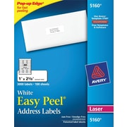 "Avery 1"" x 2 5/8"" 5160 Laser Address Labels with Easy Peel, White, 3,000/Box"