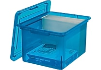 Staples® Letter/Legal File Box, Transclucent Blue (140086)
