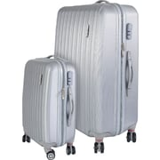 InUSA Houston Collection Silver lightweight ABS 2 pc Luggage Set (IUHOU0SB-SIL)