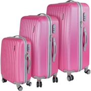 InUSA Houston Collection Pink lightweight ABS 3 pc Luggage Set (IUHOUSMB-PNK)