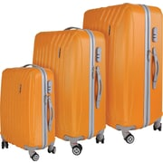 InUSA Miami Collection Orange lightweight ABS 3 pc Luggage Set (IUMIASMB-ORG)