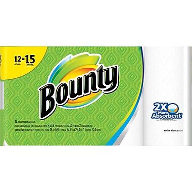 Bounty® Paper Towels, White, 12 Large Rolls = 15 Regular Rolls (88197)