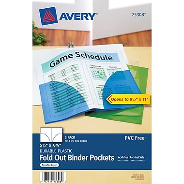Avery(R) Mini Assorted Binder Pockets for 5-1/2