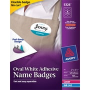 "Avery(R) White Adhesive Name Tags 5326, Oval, 2"" x 3-1/3"", Pack of 160"