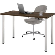 """Bestar 24"""" x 48"""" Table with round metal legs in Tuxedo"""
