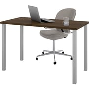 """Bestar 24"""" x 48"""" Table with square metal legs in Tuxedo"""