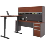 Bestar Connexion L-Desk with Hutch including Electric Height Adjustable Table in Bordeaux & Slate