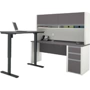 Bestar Connexion L-Desk with Hutch including Electric Height Adjustable Table in Slate & Sandstone
