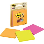 "Post-it® Super Sticky Notes, 3"" x 3"", Rio de Janeiro Collection, 3 Pads/Pack (3321-SSAU)"